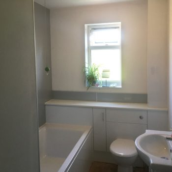 Clean white bathroom installation