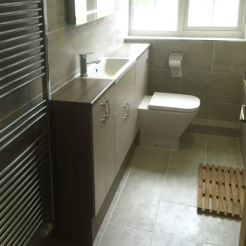 Modern bathroom with built-in vanity units